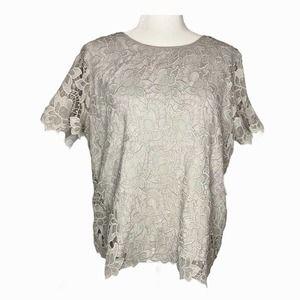 Philosophy Lace Top Short Sleeve Gray XL